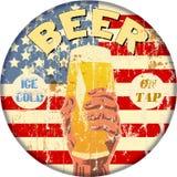 Retro beer advertising enamel sign, vector Royalty Free Stock Photo