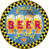 Retro beer advertising sign, vector illustration,fictional artwo Royalty Free Stock Photography