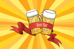 Retro beer bar banner. Beer glass with ribbon on victorian back Stock Photography