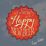 Retro beer bottle cap Poster Design. Vintage bottle cap - Happy New Year message Royalty Free Stock Photos