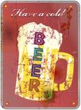 Retro beer enamel sign, vector Stock Photos