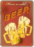Retro beer enamel sign, vector Royalty Free Stock Photo