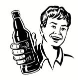 Retro Beer Guy. Vector black symbol of Retro Beer Guy Stock Photography