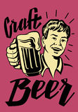 Retro Beer Guy. Vector black symbol of Retro Beer Guy Stock Images