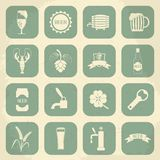 Retro beer icons set. Vector illustration Royalty Free Stock Photo