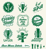 Retro Beer Labels and Stickers. Collection of vintage style beer labels and stickers Stock Image