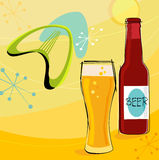 Retro Beer Motif (Vector). Retro beer motif with boomerangs and stars. Each item is grouped so you can use them independently from the background. Layered file Stock Images