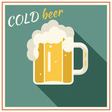 Retro Beer Mug with Foam Symbol Alcohol Vector Royalty Free Stock Photos