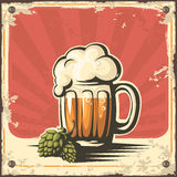 Retro beer poster. Vector. Stock Image
