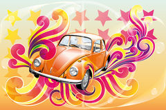 Retro beetle poster Royalty Free Stock Photography