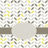 Retro beige yellow leaves on white with frame Royalty Free Stock Photography