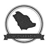 Retro bekymrat Saudiarabien emblem med översikten Royaltyfri Bild