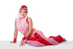 Retro bellydancer in seductive pose Royalty Free Stock Image