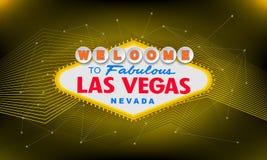 Retro benvenuto classico al segno di Las Vegas su fondo variopinto Illustrazione moderna semplice di stile di vettore illustrazione vettoriale