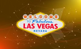 Retro benvenuto classico al segno di Las Vegas su fondo variopinto Illustrazione moderna semplice di stile di vettore illustrazione di stock