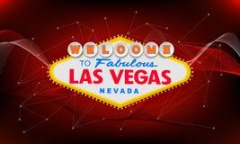 Retro benvenuto classico al segno di Las Vegas su fondo variopinto Illustrazione moderna semplice di stile di vettore Rosso royalty illustrazione gratis