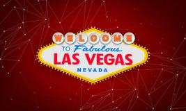 Retro benvenuto classico al segno di Las Vegas su fondo variopinto Illustrazione moderna semplice di stile di vettore Rosso illustrazione di stock