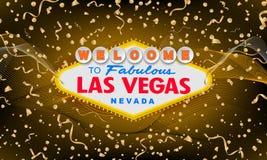 Retro benvenuto classico al segno di Las Vegas sul fondo variopinto del nuovo anno Fondo 2019 dell'oro del buon anno semplice illustrazione di stock