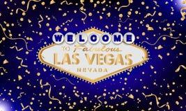 Retro benvenuto classico dell'oro al segno di Las Vegas su fondo blu Priorità bassa felice Stile moderno semplice di vettore royalty illustrazione gratis