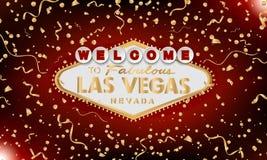 Retro benvenuto classico dell'oro al segno di Las Vegas su fondo rosso Priorità bassa felice Stile moderno semplice di vettore illustrazione vettoriale