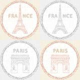 Retro- Beschaffenheit mit den Monumenten von Paris Lizenzfreie Stockfotos