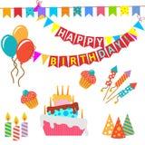 Retro beståndsdelar för födelsedagberömdesign - för Arkivbild