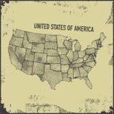 Retro- beunruhigte Insignien mit US-Karte Stockfotografie