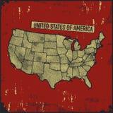 Retro- beunruhigte Insignien mit US-Karte Stockfoto