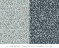 Retro Bezszwowa wzoru 2 koloru Set_508 chińczyka spirali krzywy Orientalna chmura royalty ilustracja