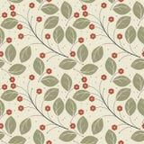 Retro bezszwowy wzór z zielenią opuszcza i czerwień kwitnie Zdjęcie Royalty Free