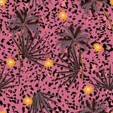 Retro bezszwowy zwierzę druków wzór z tropikalnymi roślinami i lampartów drukami Wektorowy ilustracyjny projekt dla mody, tkanina ilustracji