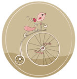 Retro bicycle. Illustration of a retro bicycle with bird royalty free illustration