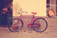 Retro bicycle. Pink Retro bicycle and fall leafs royalty free stock photography