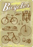Bicycle and accessories vintage vector illustration collection in retro old poster style royalty free illustration