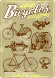 Bicycle and accessories vintage vector illustration collection in retro old poster style stock illustration