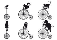 Retro bicycle with animals, vector set Royalty Free Stock Photos