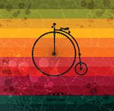 Retro bicycle on colorful geometric background Stock Photos