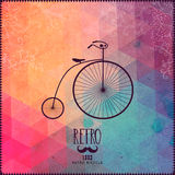 Retro bicycle on hipster background made of triangles with grung Royalty Free Stock Photos