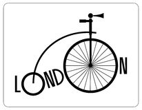 Retro bicycle from London with a large front wheel and the name of the city. Logo. Silhouette old bicycle. Royalty Free Stock Photography