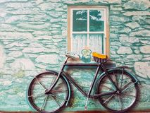 Retro Bicycle Maquette. Old bicycle leaning against grungy wall - Maquette stock image
