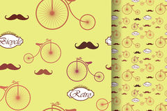 Retro bicycle and moustache, seamless pattern, vintage elements background.  Stock Image