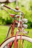 Retro bicycle in a park. stock photography