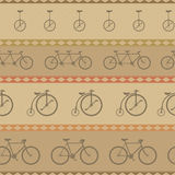 Retro bicycle pattern, hipster background Stock Images