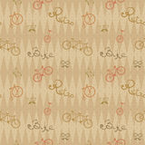 Retro bicycle pattern, hipster background Stock Photography