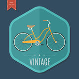 Retro bicycle poster design template. Vector illustration Stock Photos
