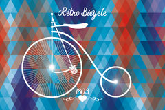 Retro bicycle. Poster with retro bicycle of 1803 in front of rectangles in retro look and colors and hand drawn text of retro bicycle 1803 Stock Photos