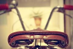 Retro bicycle saddle detail. Vintage style. Royalty Free Stock Image