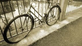 Retro bicycle standing near river tied to fence, vintage old fashioned vehicle. Stock footage stock video