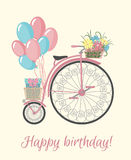 Retro Bicycle style with flowers and balloons. Royalty Free Stock Image