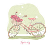 Retro bicycle. Vector illustration of pink retro bicycle with basket of flowers Royalty Free Stock Image